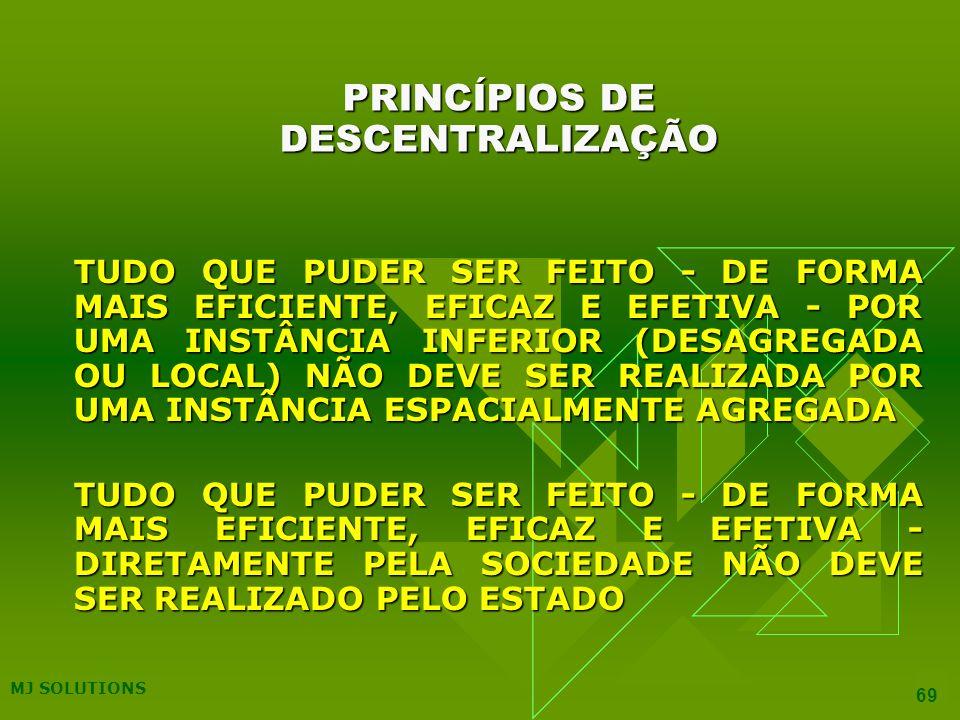 MJ SOLUTIONS 69 PRINCÍPIOS DE DESCENTRALIZAÇÃO TUDO QUE PUDER SER FEITO - DE FORMA MAIS EFICIENTE, EFICAZ E EFETIVA - POR UMA INSTÂNCIA INFERIOR (DESAGREGADA OU LOCAL) NÃO DEVE SER REALIZADA POR UMA INSTÂNCIA ESPACIALMENTE AGREGADA TUDO QUE PUDER SER FEITO - DE FORMA MAIS EFICIENTE, EFICAZ E EFETIVA - DIRETAMENTE PELA SOCIEDADE NÃO DEVE SER REALIZADO PELO ESTADO