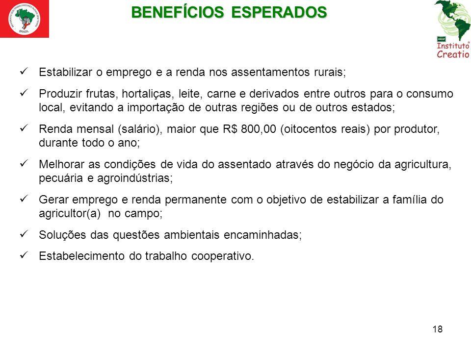18 Estabilizar o emprego e a renda nos assentamentos rurais; Produzir frutas, hortaliças, leite, carne e derivados entre outros para o consumo local,