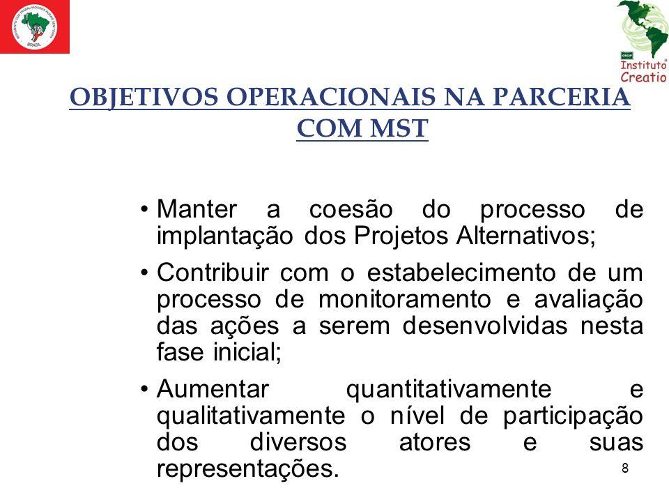 8 OBJETIVOS OPERACIONAIS NA PARCERIA COM MST Manter a coesão do processo de implantação dos Projetos Alternativos; Contribuir com o estabelecimento de