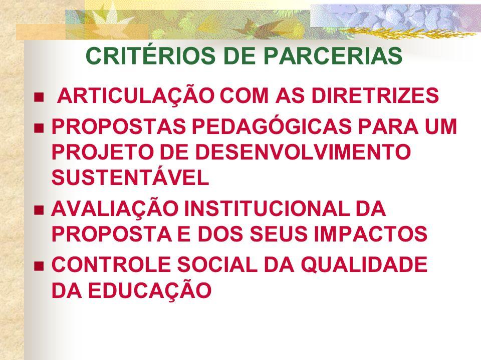 ARTICULAÇÃO COM AS DIRETRIZES PROPOSTAS PEDAGÓGICAS PARA UM PROJETO DE DESENVOLVIMENTO SUSTENTÁVEL AVALIAÇÃO INSTITUCIONAL DA PROPOSTA E DOS SEUS IMPACTOS CONTROLE SOCIAL DA QUALIDADE DA EDUCAÇÃO CRITÉRIOS DE PARCERIAS