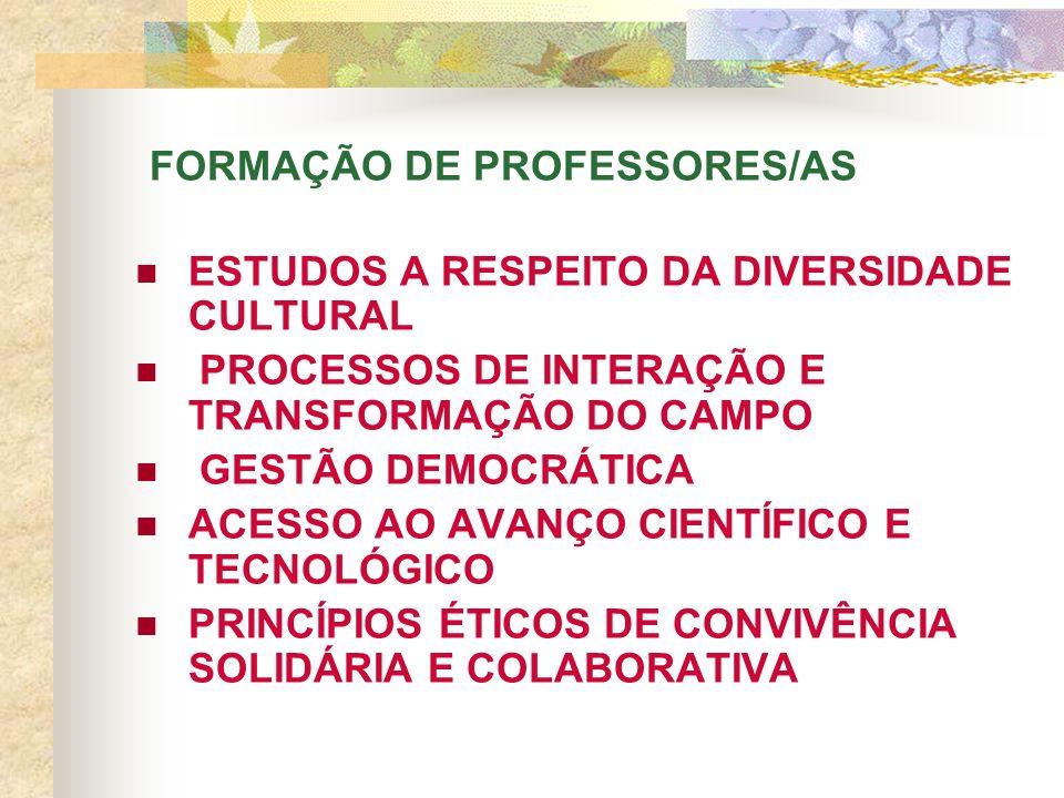 FORMAÇÃO DE PROFESSORES/AS ESTUDOS A RESPEITO DA DIVERSIDADE CULTURAL PROCESSOS DE INTERAÇÃO E TRANSFORMAÇÃO DO CAMPO GESTÃO DEMOCRÁTICA ACESSO AO AVANÇO CIENTÍFICO E TECNOLÓGICO PRINCÍPIOS ÉTICOS DE CONVIVÊNCIA SOLIDÁRIA E COLABORATIVA