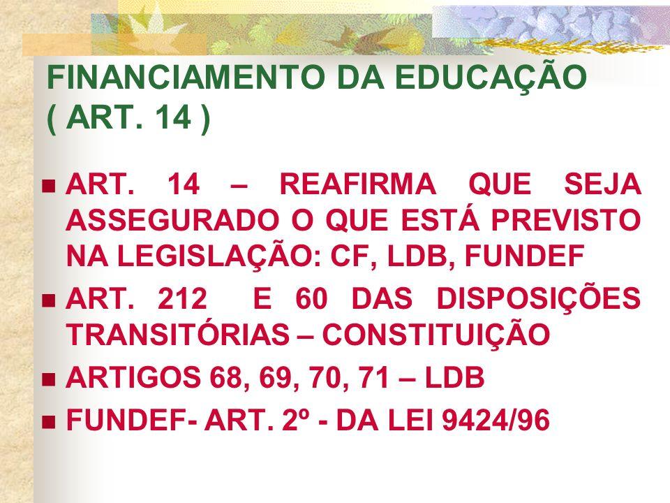 FINANCIAMENTO DA EDUCAÇÃO ( ART. 14 ) ART.