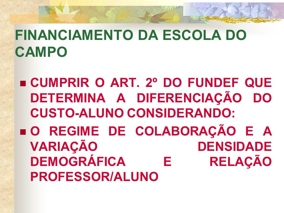 FINANCIAMENTO DA ESCOLA DO CAMPO CUMPRIR O ART.