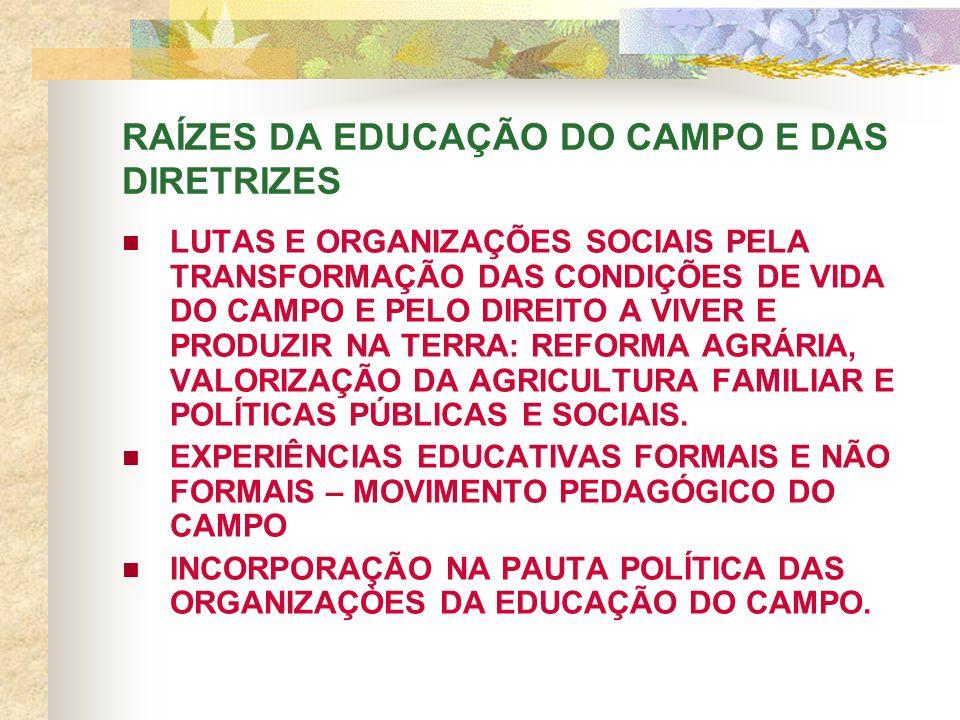 RAÍZES DA EDUCAÇÃO DO CAMPO E DAS DIRETRIZES LUTAS E ORGANIZAÇÕES SOCIAIS PELA TRANSFORMAÇÃO DAS CONDIÇÕES DE VIDA DO CAMPO E PELO DIREITO A VIVER E PRODUZIR NA TERRA: REFORMA AGRÁRIA, VALORIZAÇÃO DA AGRICULTURA FAMILIAR E POLÍTICAS PÚBLICAS E SOCIAIS.