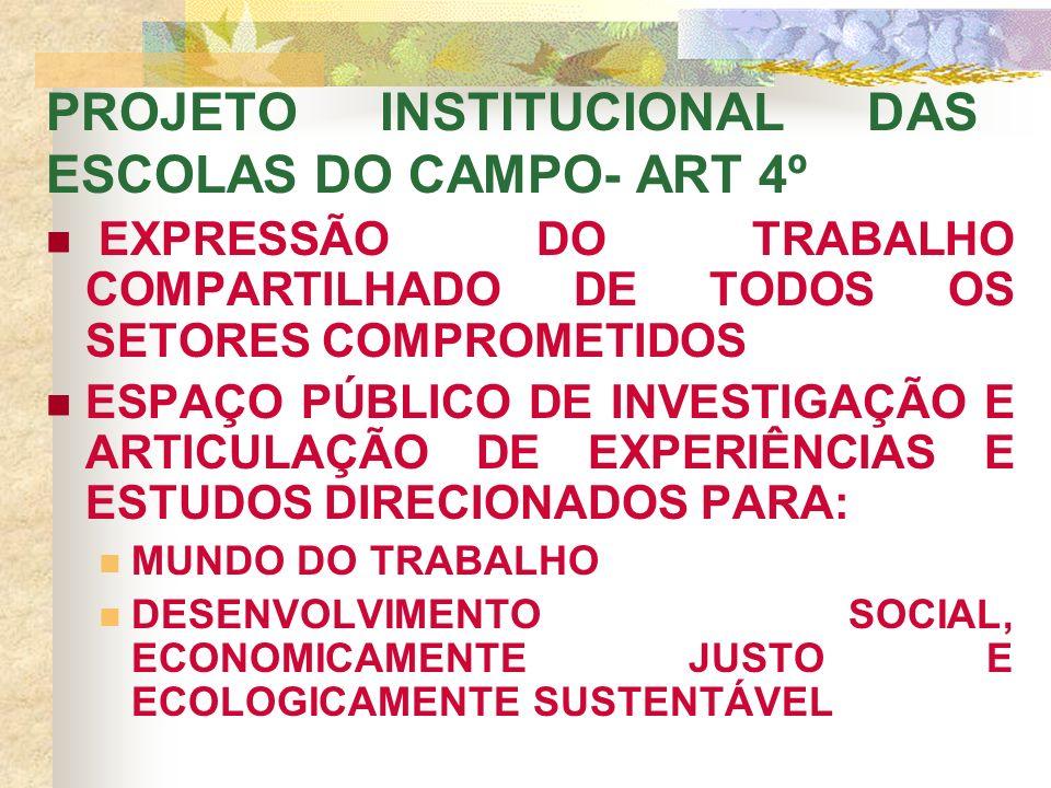 PROJETO INSTITUCIONAL DAS ESCOLAS DO CAMPO- ART 4º EXPRESSÃO DO TRABALHO COMPARTILHADO DE TODOS OS SETORES COMPROMETIDOS ESPAÇO PÚBLICO DE INVESTIGAÇÃO E ARTICULAÇÃO DE EXPERIÊNCIAS E ESTUDOS DIRECIONADOS PARA: MUNDO DO TRABALHO DESENVOLVIMENTO SOCIAL, ECONOMICAMENTE JUSTO E ECOLOGICAMENTE SUSTENTÁVEL