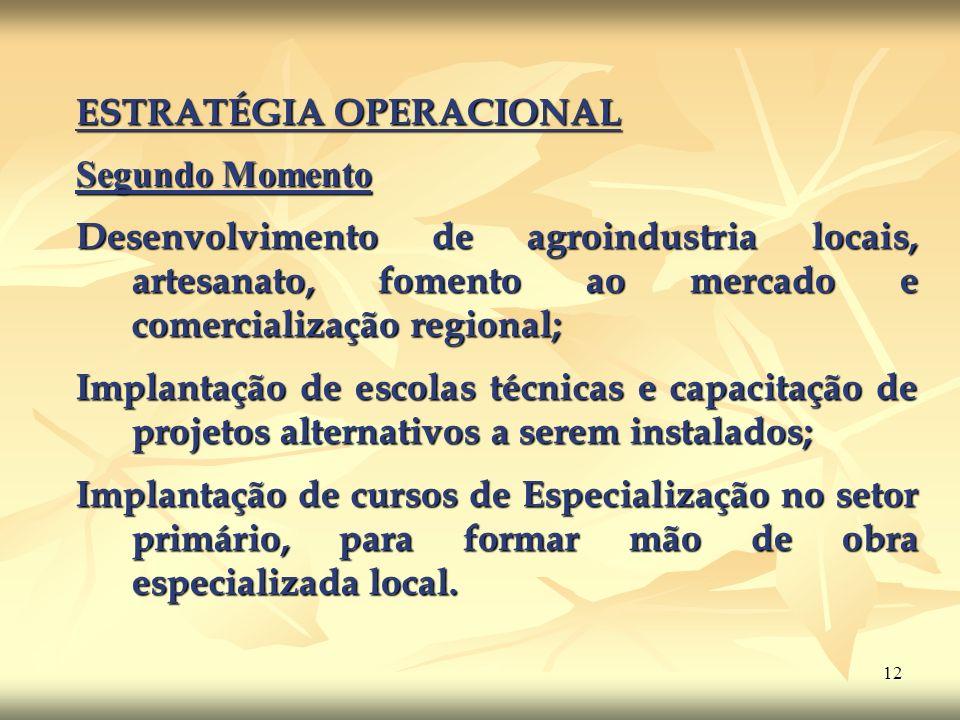 12 ESTRATÉGIA OPERACIONAL Segundo Momento Segundo Momento Desenvolvimento de agroindustria locais, artesanato, fomento ao mercado e comercialização re