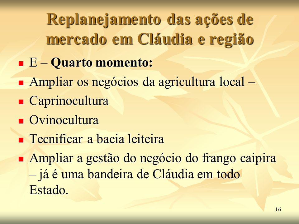 16 Replanejamento das ações de mercado em Cláudia e região E – Quarto momento: E – Quarto momento: Ampliar os negócios da agricultura local – Ampliar