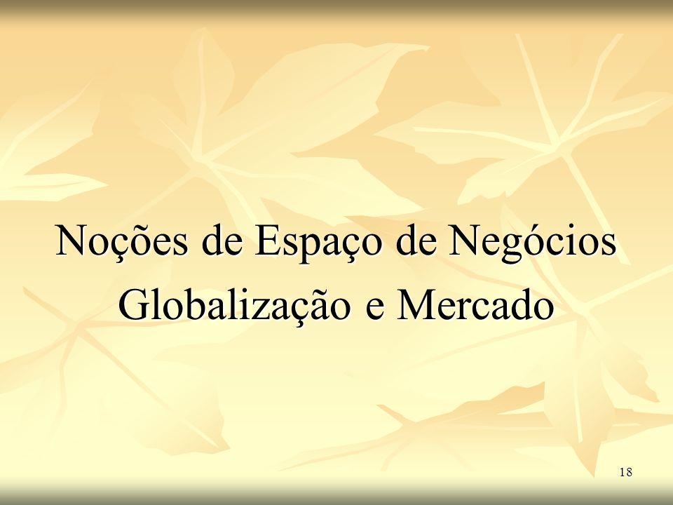 18 Noções de Espaço de Negócios Globalização e Mercado