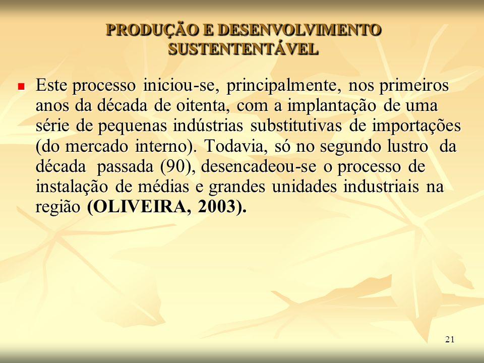 21 Este processo iniciou-se, principalmente, nos primeiros anos da década de oitenta, com a implantação de uma série de pequenas indústrias substituti