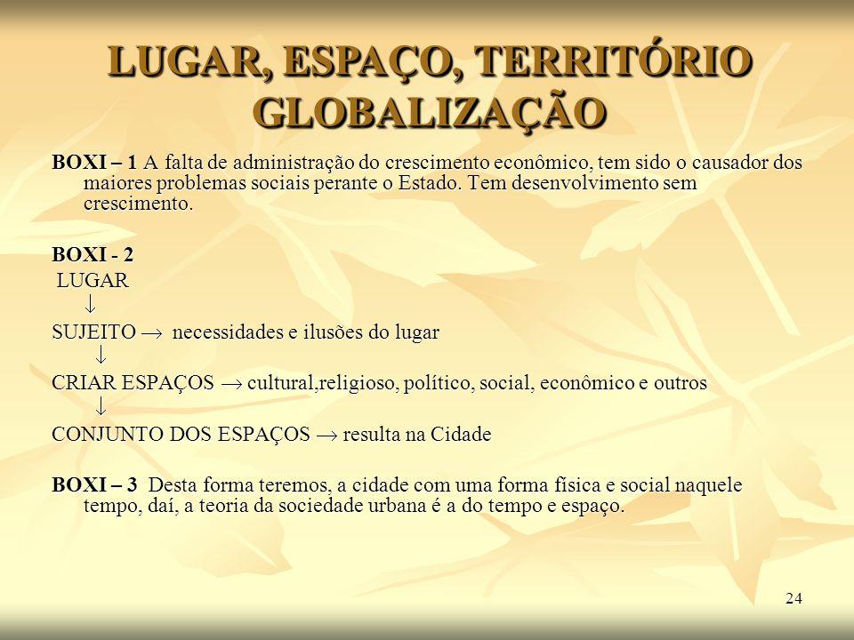 24 BOXI – 1 A falta de administração do crescimento econômico, tem sido o causador dos maiores problemas sociais perante o Estado. Tem desenvolvimento