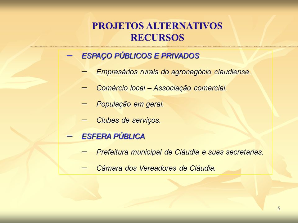 6 Prefeitura de Cláudia ProjetosAlternativos ORGANIZAÇÃO DIREÇÃO/COORDENAÇÃO PROCESSO DE IMPLANTAÇÃO MONITORAMENTO /AVALIAÇÃO SENSIBILIZAÇÃO/ MOBILIZAÇÃO - DIAGNÓSTICO E CONSULTA A POPULAÇÃO - VISÃO DE FUTURO - PLANIFICAÇÃO OBJETIVOS OBJETIVOS DIRETRIZES DIRETRIZES ESTRATÉGIAS ESTRATÉGIAS PROGRAMAS E PROJETO PROGRAMAS E PROJETO – ARTICULAÇÃO – BUSCA DE PARCERIAS – NEGOCIAÇÃO – AJUSTES – DIVISÃO DE TAREFAS