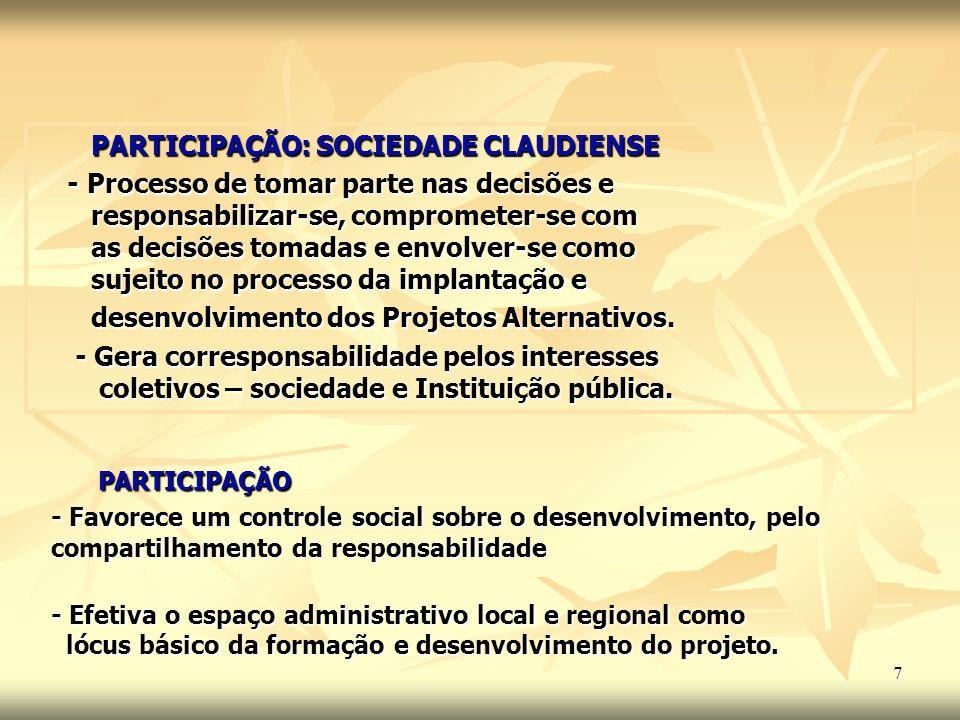 7 PARTICIPAÇÃO PARTICIPAÇÃO - Favorece um controle social sobre o desenvolvimento, pelo compartilhamento da responsabilidade - Efetiva o espaço admini