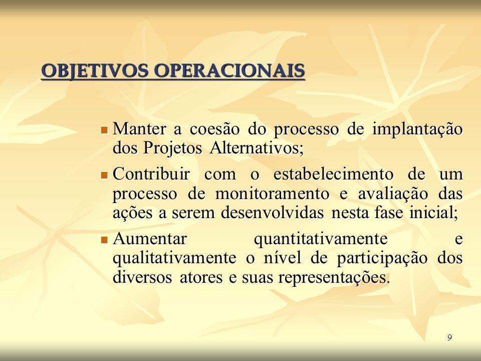 9 OBJETIVOS OPERACIONAIS Manter a coesão do processo de implantação dos Projetos Alternativos; Manter a coesão do processo de implantação dos Projetos