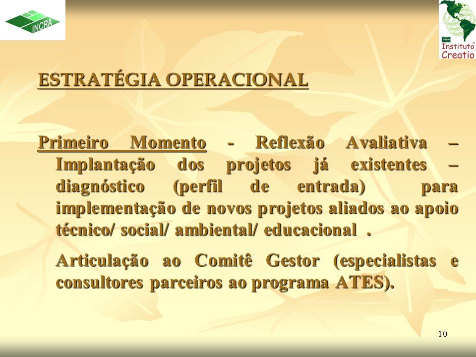 10 ESTRATÉGIA OPERACIONAL Primeiro Momento - Reflexão Avaliativa – Implantação dos projetos já existentes – diagnóstico (perfil de entrada) para imple