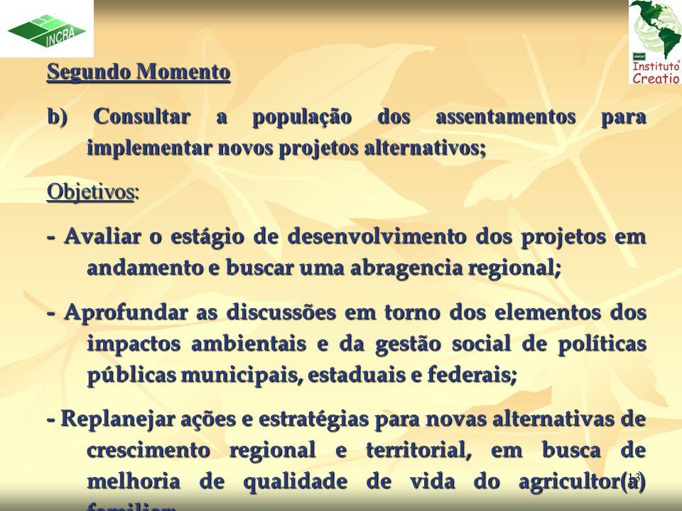 13 Segundo Momento Segundo Momento b) Consultar a população dos assentamentos para implementar novos projetos alternativos; Objetivos: - Avaliar o est