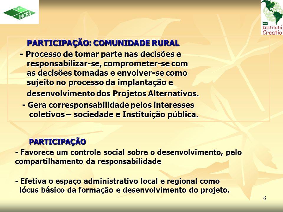 6 PARTICIPAÇÃO PARTICIPAÇÃO - Favorece um controle social sobre o desenvolvimento, pelo compartilhamento da responsabilidade - Efetiva o espaço admini