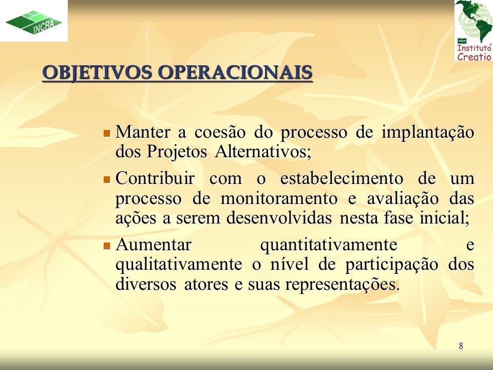 8 OBJETIVOS OPERACIONAIS Manter a coesão do processo de implantação dos Projetos Alternativos; Manter a coesão do processo de implantação dos Projetos