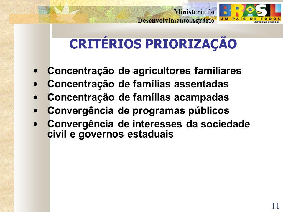 10 Ministério do Desenvolvimento Agrário DEFINIÇÃO DOS TERRITÓRIOS APOIADOS PELA SDT Brasil: 5.506 municípios IBGE: 560 microrregiões geográficas SDT