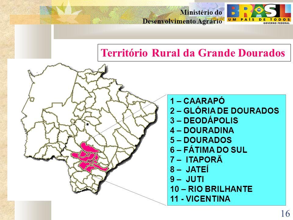 15 Ministério do Desenvolvimento Agrário TERRITÓRIOS RURAIS NO MATO GROSSO DO SUL