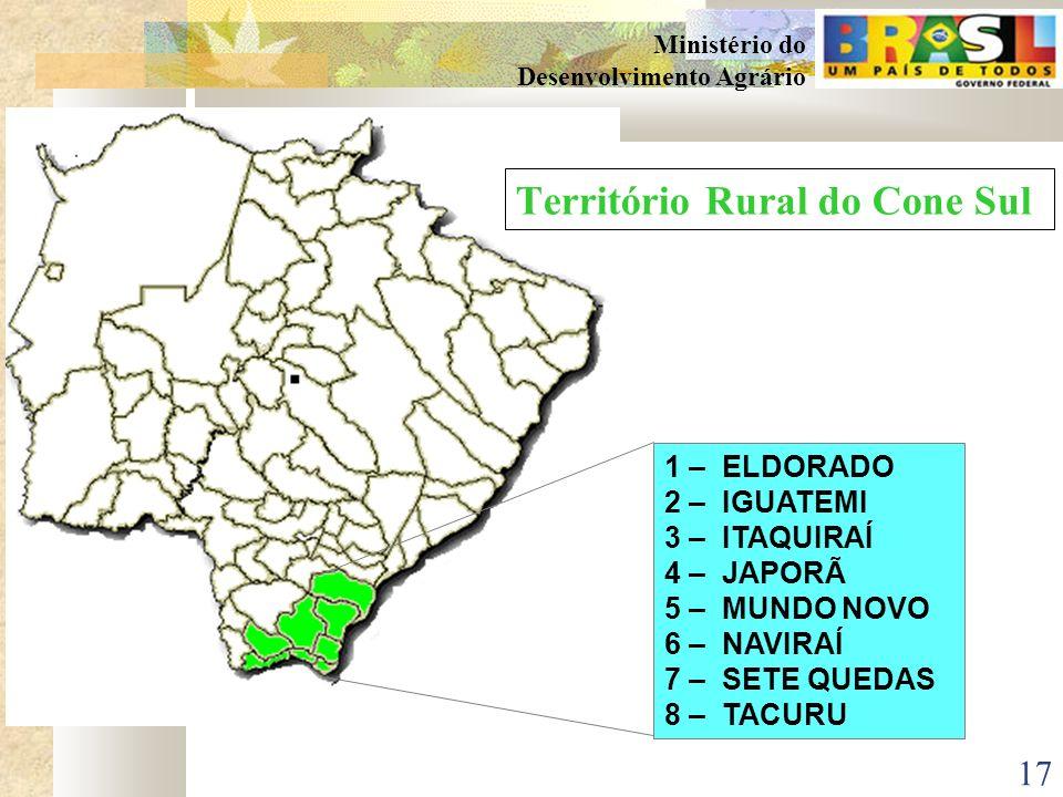 16 Ministério do Desenvolvimento Agrário 1 – CAARAPÓ 2 – GLÓRIA DE DOURADOS 3 – DEODÁPOLIS 4 – DOURADINA 5 – DOURADOS 6 – FÁTIMA DO SUL 7 – ITAPORÃ 8