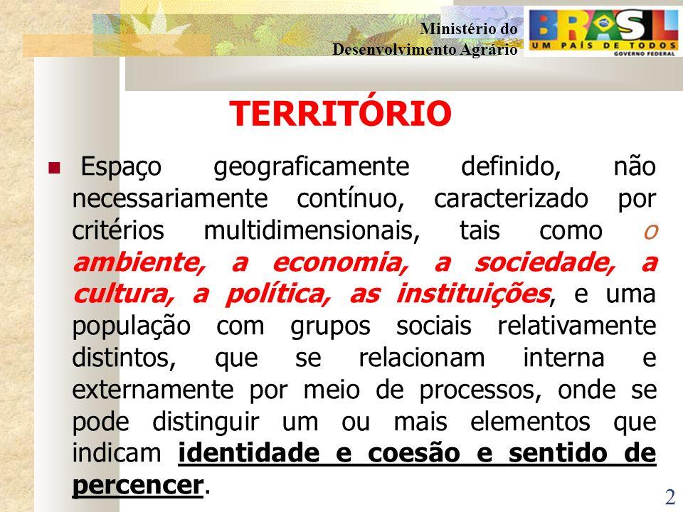 1 Ministério do Desenvolvimento Agrário PROGRAMA DE DESENVOLVIMENTO SUSTENTÁVEL DE TERRITÓRIOS RURAIS A ABORDAGEM TERRITORIAL PARA O DESENVOLVIMENTO R