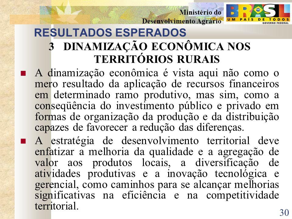 29 Ministério do Desenvolvimento Agrário RESULTADOS ESPERADOS 2FORTALECIMENTO DAS REDES SOCIAIS DE COOPERAÇÃO O fortalecimento se dá por intermédio do