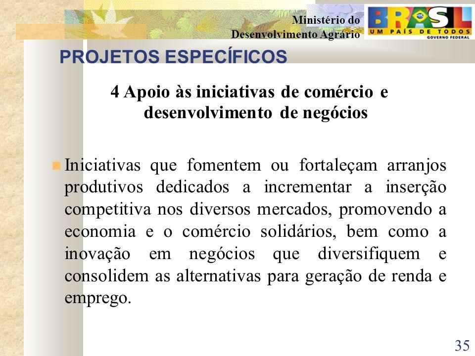 34 Ministério do Desenvolvimento Agrário PROJETOS ESPECÍFICOS 3Apoio às entidades associativas e cooperativas Apoio a iniciativas dos agricultores fam