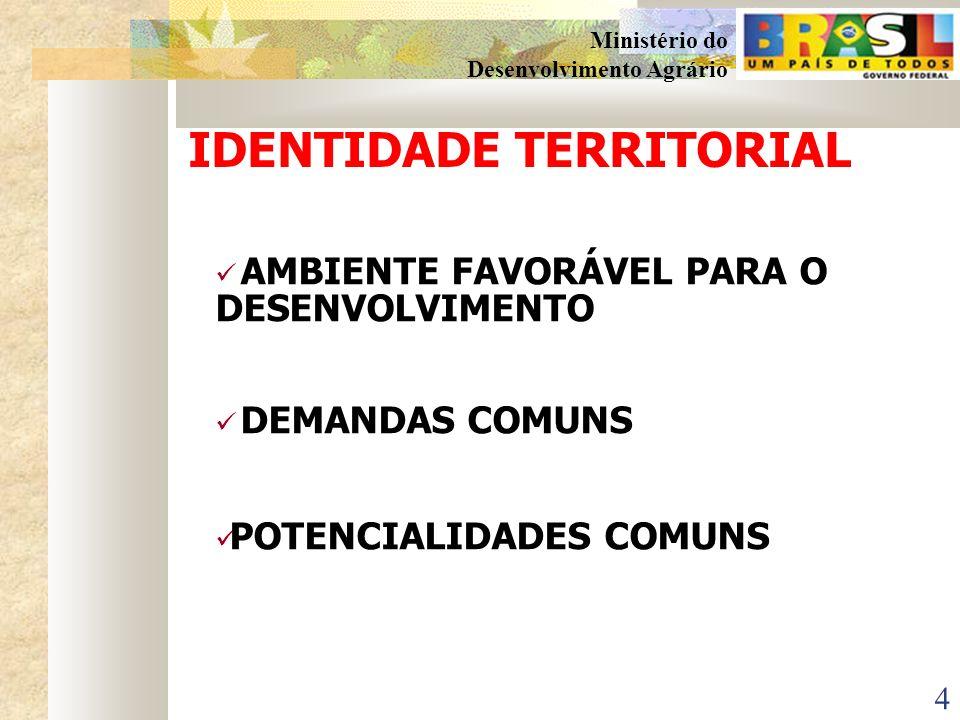 14 Ministério do Desenvolvimento Agrário OS TERRITÓRIOS PRIORITÁRIOS EM MATO GROSSO DO SUL 2003 Território Rural da Grande Dourados Território Rural do Cone Sul 2005 Território Rural da Reforma