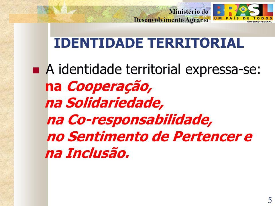 5 Ministério do Desenvolvimento Agrário IDENTIDADE TERRITORIAL A identidade territorial expressa-se: na Cooperação, na Solidariedade, na Co-responsabilidade, no Sentimento de Pertencer e na Inclusão.