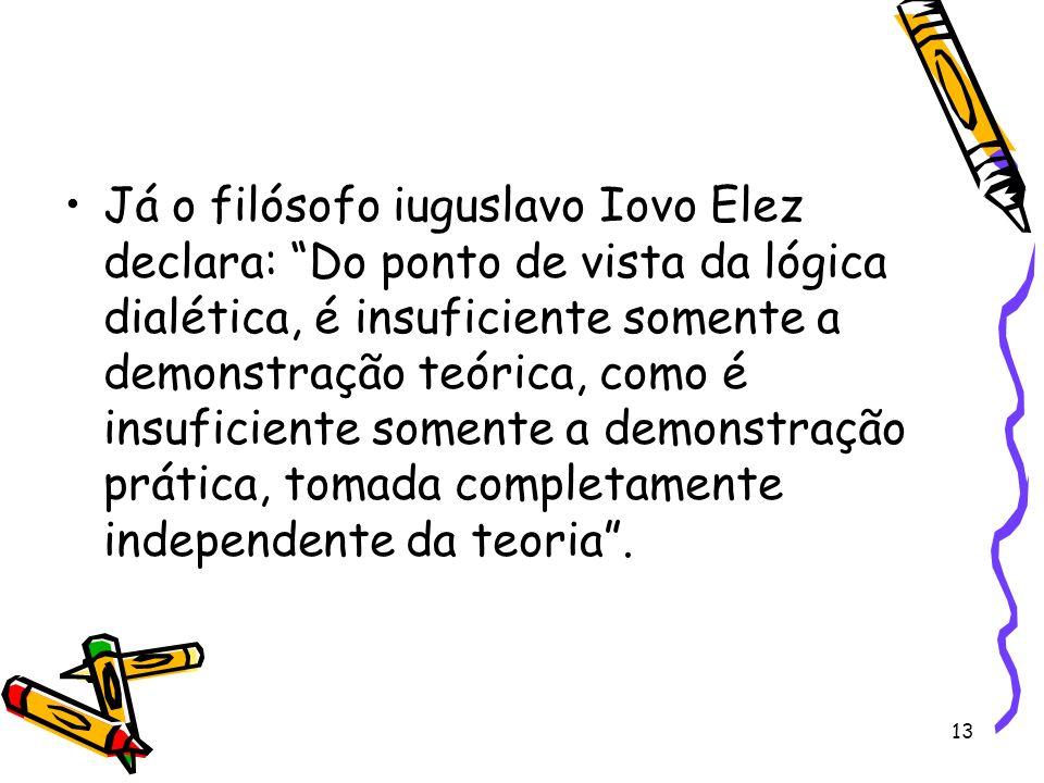 13 Já o filósofo iuguslavo Iovo Elez declara: Do ponto de vista da lógica dialética, é insuficiente somente a demonstração teórica, como é insuficiente somente a demonstração prática, tomada completamente independente da teoria.