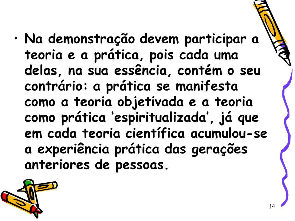 14 Na demonstração devem participar a teoria e a prática, pois cada uma delas, na sua essência, contém o seu contrário: a prática se manifesta como a