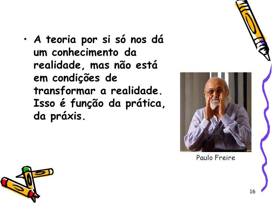 16 A teoria por si só nos dá um conhecimento da realidade, mas não está em condições de transformar a realidade.