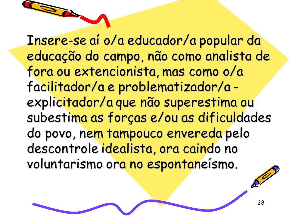 28 Insere-se aí o/a educador/a popular da educação do campo, não como analista de fora ou extencionista, mas como o/a facilitador/a e problematizador/