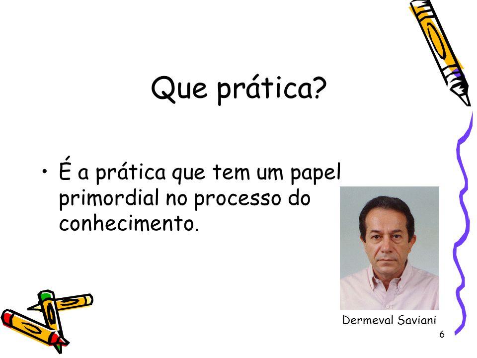 6 Que prática? É a prática que tem um papel primordial no processo do conhecimento. Dermeval Saviani