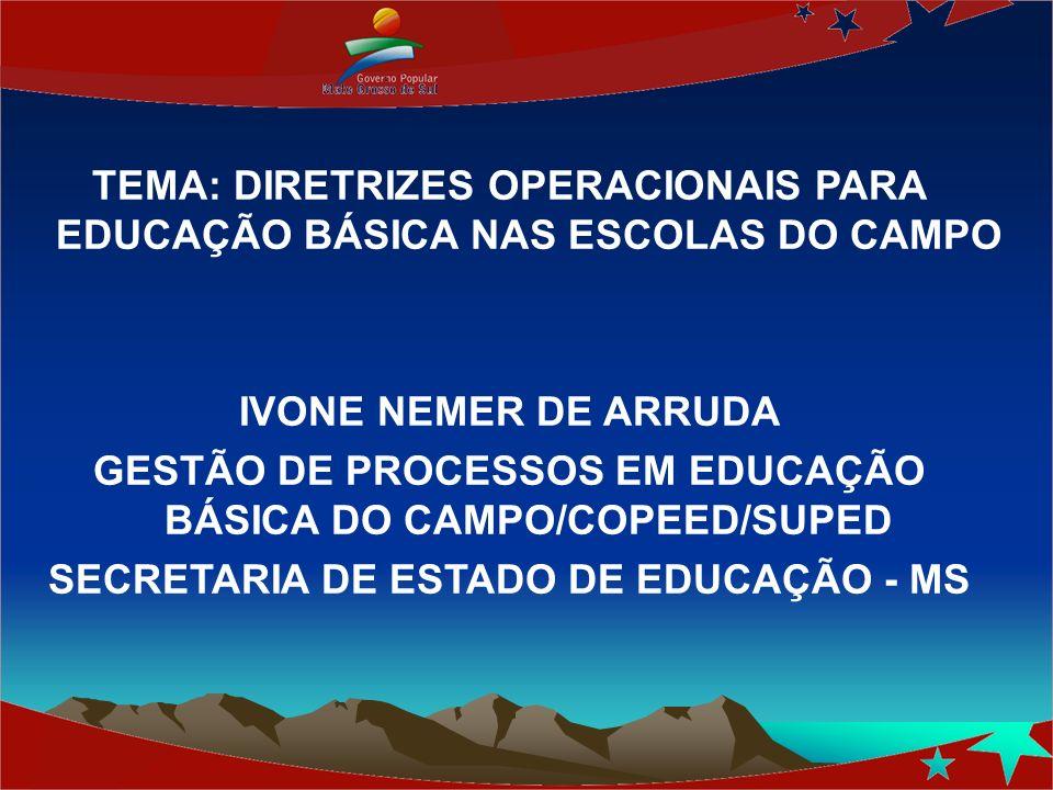 TEMA: DIRETRIZES OPERACIONAIS PARA EDUCAÇÃO BÁSICA NAS ESCOLAS DO CAMPO IVONE NEMER DE ARRUDA GESTÃO DE PROCESSOS EM EDUCAÇÃO BÁSICA DO CAMPO/COPEED/S