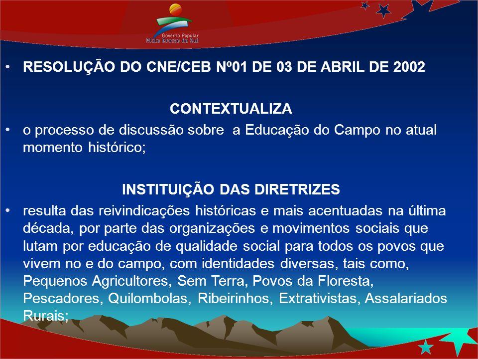 RESOLUÇÃO DO CNE/CEB Nº01 DE 03 DE ABRIL DE 2002 CONTEXTUALIZA o processo de discussão sobre a Educação do Campo no atual momento histórico; INSTITUIÇ