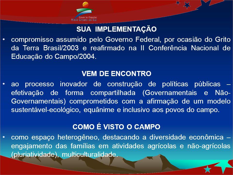 SUA IMPLEMENTAÇÃO compromisso assumido pelo Governo Federal, por ocasião do Grito da Terra Brasil/2003 e reafirmado na II Conferência Nacional de Educ