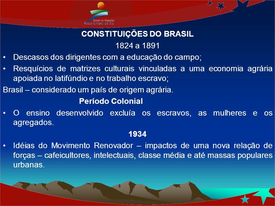 CONSTITUIÇÕES DO BRASIL 1824 a 1891 Descasos dos dirigentes com a educação do campo; Resquícios de matrizes culturais vinculadas a uma economia agrári