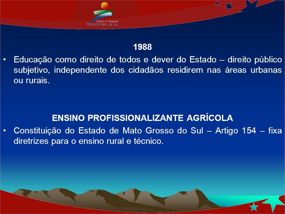 1988 Educação como direito de todos e dever do Estado – direito público subjetivo, independente dos cidadãos residirem nas áreas urbanas ou rurais. EN