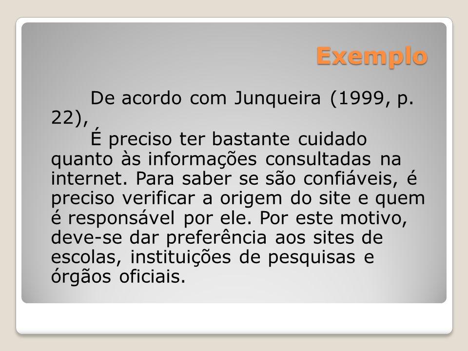 Exemplo De acordo com Junqueira (1999, p. 22), É preciso ter bastante cuidado quanto às informações consultadas na internet. Para saber se são confiáv