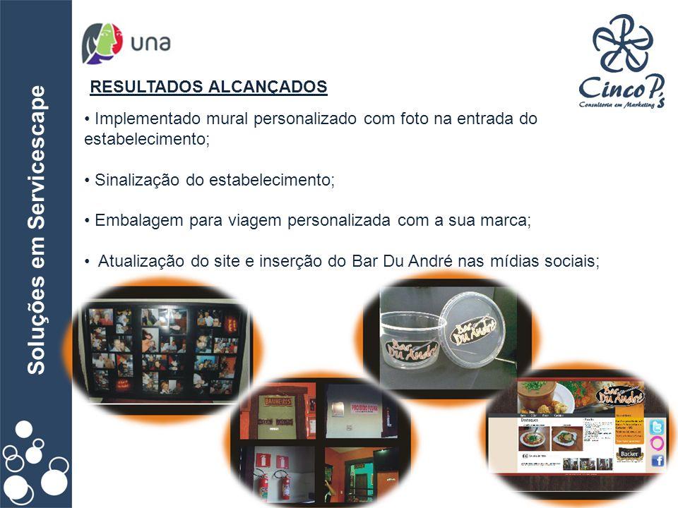 Soluções em Servicescape RESULTADOS ALCANÇADOS Implementado mural personalizado com foto na entrada do estabelecimento; Sinalização do estabelecimento