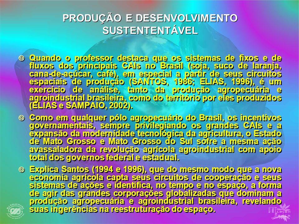 Quando o professor destaca que os sistemas de fixos e de fluxos dos principais CAIs no Brasil (soja, suco de laranja, cana-de-açúcar, café), em especi