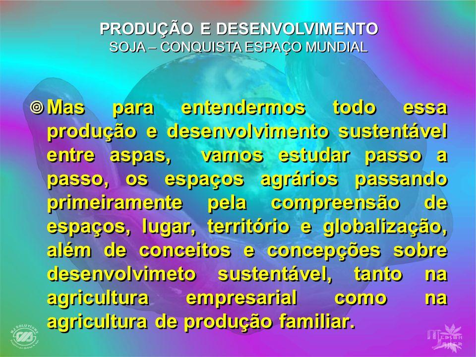 Mas para entendermos todo essa produção e desenvolvimento sustentável entre aspas, vamos estudar passo a passo, os espaços agrários passando primeiram