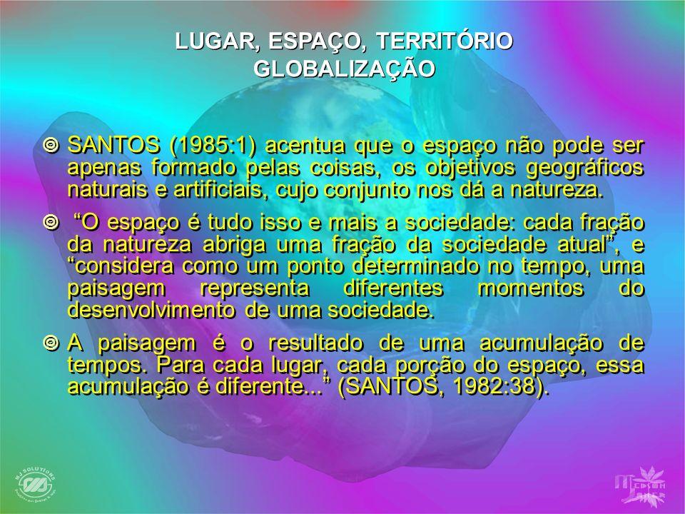LUGAR, ESPAÇO, TERRITÓRIO GLOBALIZAÇÃO SANTOS (1985:1) acentua que o espaço não pode ser apenas formado pelas coisas, os objetivos geográficos naturai