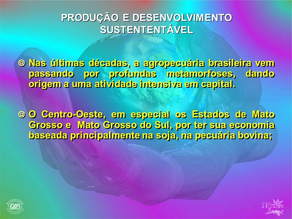 PRODUÇÃO E DESENVOLVIMENTO SUSTENTENTÁVEL Nas últimas décadas, a agropecuária brasileira vem passando por profundas metamorfoses, dando origem a uma a