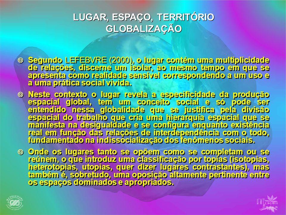Segundo LEFEBVRE (2000), o lugar contém uma multiplicidade de relações, discerne um isolar, ao mesmo tempo em que se apresenta como realidade sensível