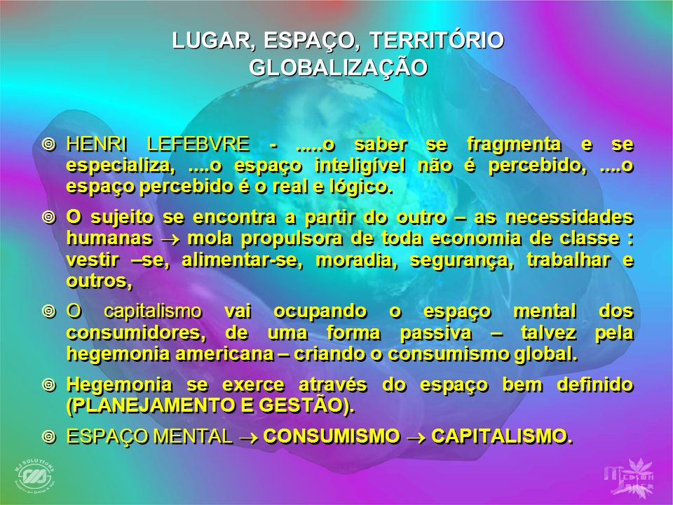 HENRI LEFEBVRE -.....o saber se fragmenta e se especializa,....o espaço inteligível não é percebido,....o espaço percebido é o real e lógico. O sujeit