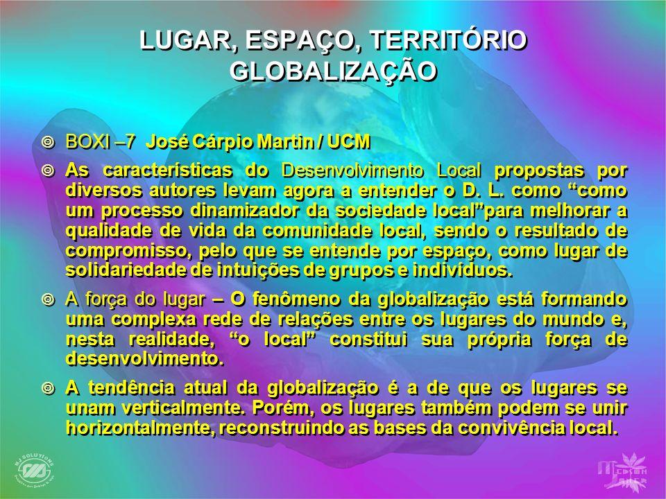 LUGAR, ESPAÇO, TERRITÓRIO GLOBALIZAÇÃO BOXI –7 José Cárpio Martin / UCM As características do Desenvolvimento Local propostas por diversos autores lev