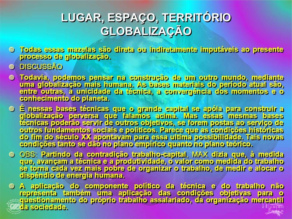 LUGAR, ESPAÇO, TERRITÓRIO GLOBALIZAÇÃO Todas essas mazelas são direta ou indiretamente imputáveis ao presente processo de globalização. DISCUSSÃO Toda