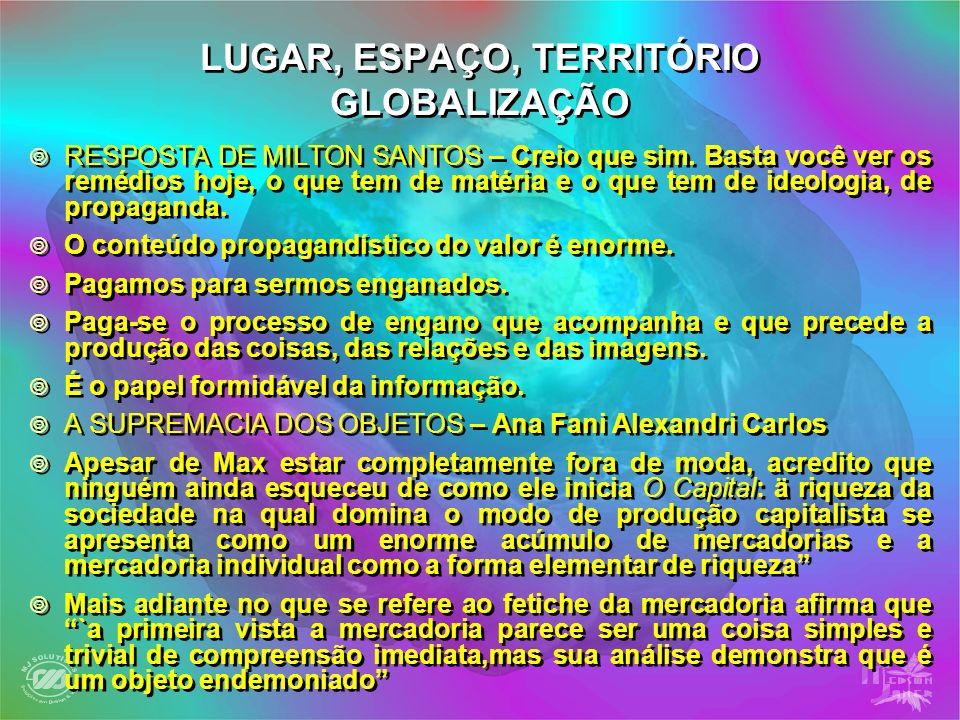 LUGAR, ESPAÇO, TERRITÓRIO GLOBALIZAÇÃO RESPOSTA DE MILTON SANTOS – Creio que sim. Basta você ver os remédios hoje, o que tem de matéria e o que tem de